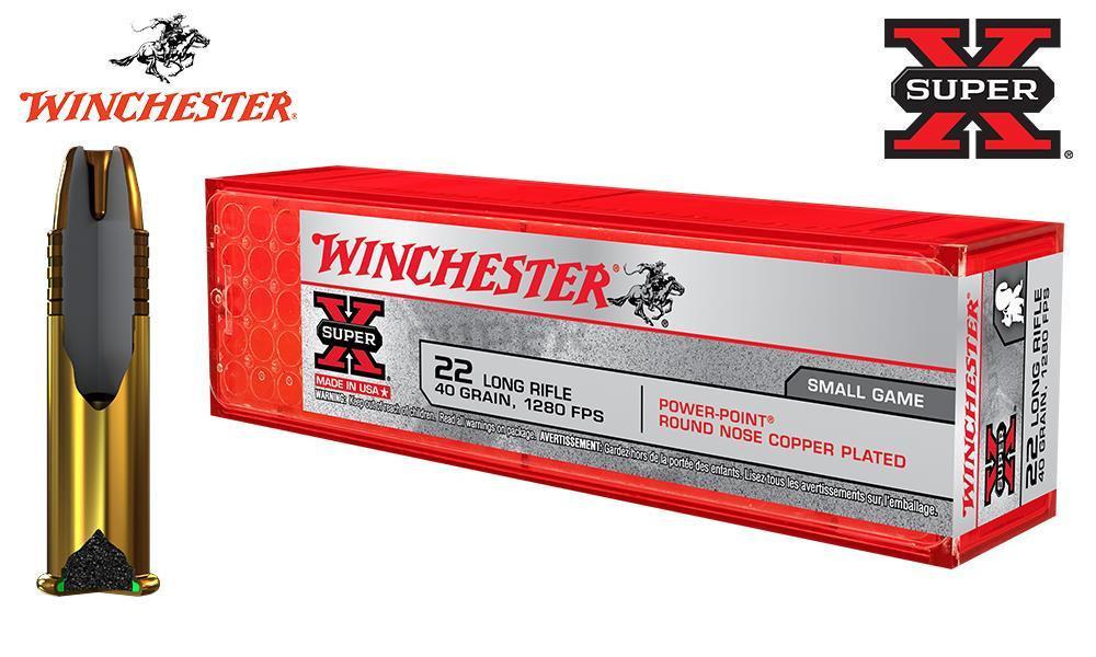 WINCHESTER SUPER X, 22LR, 40 GRAIN POWER POINT, 1280FPS