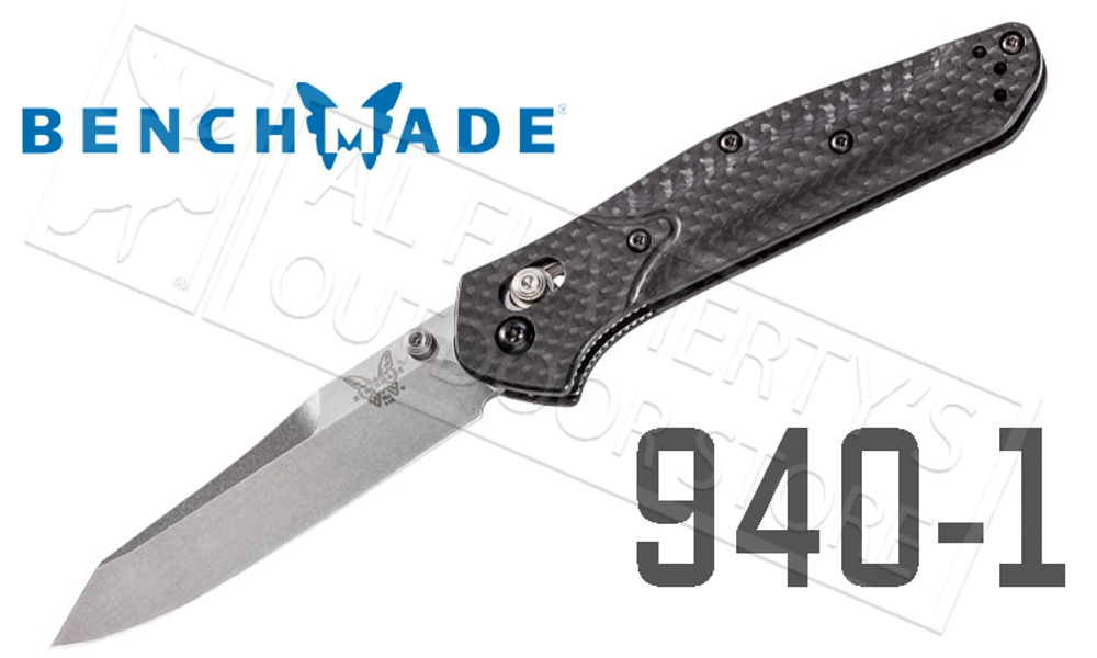 BENCHMADE 940 EDC FOLDING KNIFE BY OSBORNE DESIGN, PLAIN EDGE WITH SATIN FINISH AND CARBON FIBER HANDLE #940-1