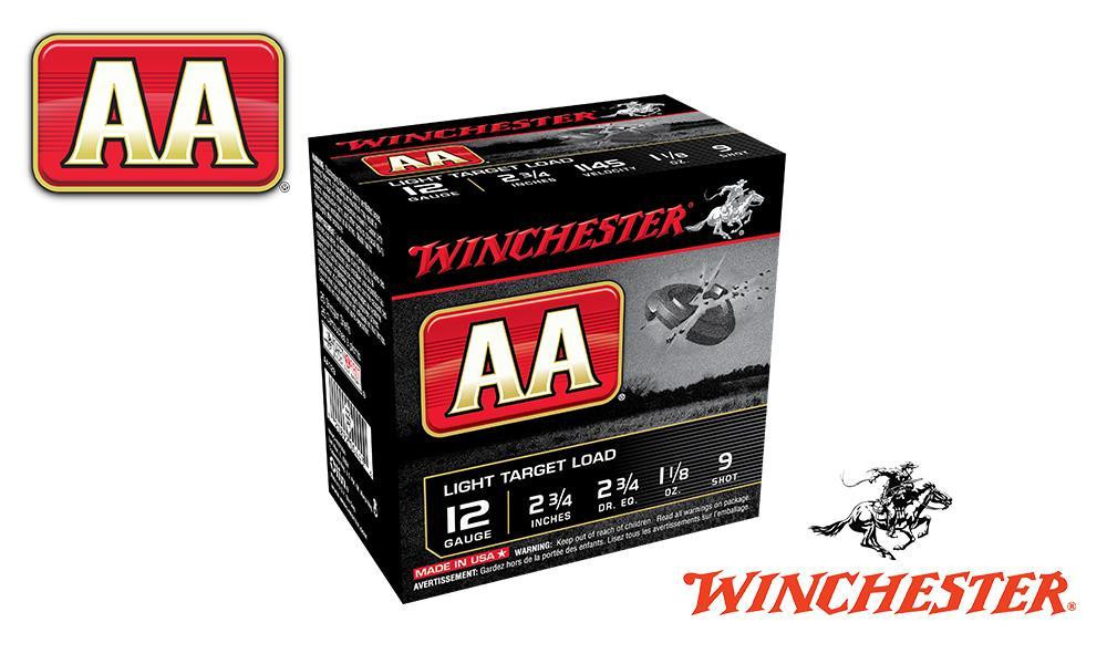 """(STORE PICKUP ONLY) 12 GAUGE - WINCHESTER AA, #9, 2-3/4"""", 1-1/8 OZ., CASE OF 250"""