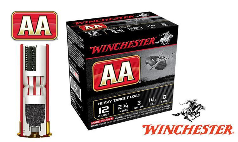 """(STORE PICKUP ONLY) 12 GAUGE - WINCHESTER AA HEAVY TARGET LOAD, #8, 2-3/4"""", 1-1/8 OZ., CASE OF 250"""