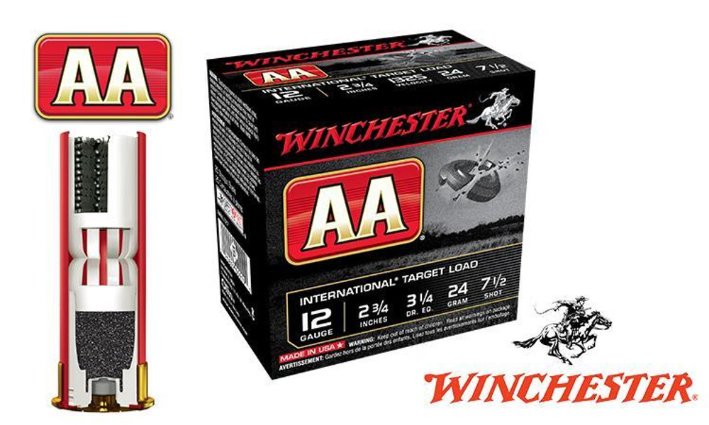 """(STORE PICKUP ONLY) 12 GAUGE - WINCHESTER AA INTERNATIONAL TARGET LOAD, #7-1/2, 2-3/4"""", 24 GRAMS 1325 FPS, CASE OF 250"""