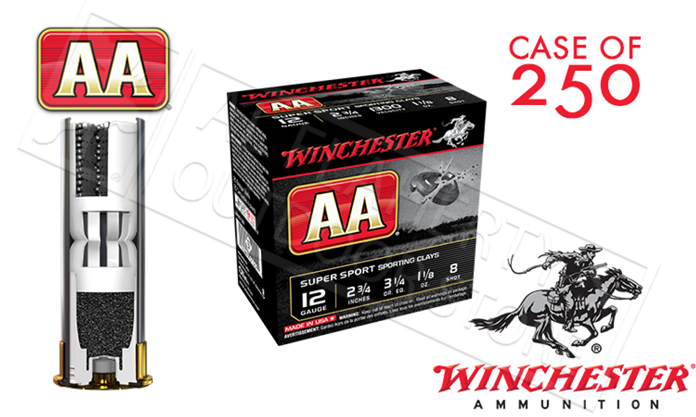 """(STORE PICKUP ONLY) 12 GAUGE - WINCHESTER AA SUPER SPORT SPORTING CLAYS SHOT SHELLS, 2-3/4"""" #8 SHOT CASE OF 250"""