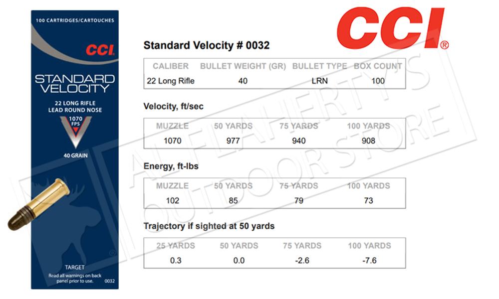 CCI Standard Velocity 22LR, 40 Grain Lead Round-Nose Box of 100 #0032