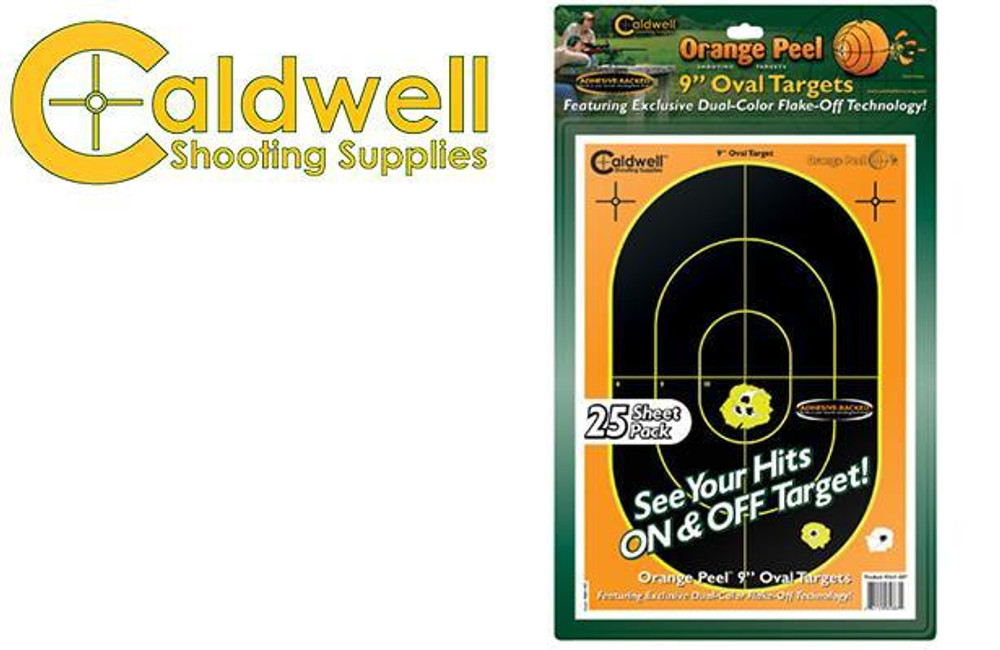 "CALDWELL ORANGE PEEL OVAL 9"" TARGET PACK OF 25 #564887"