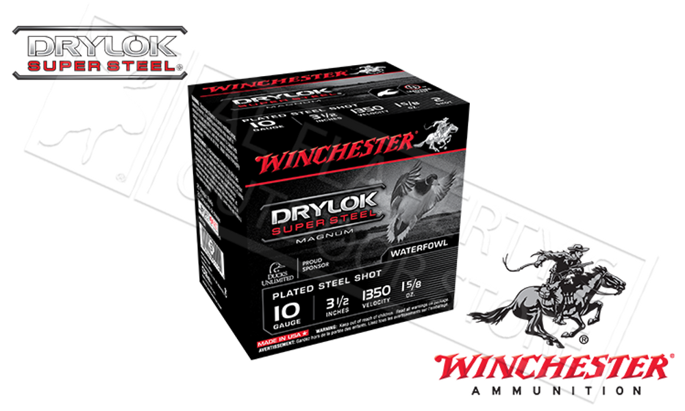 """WINCHESTER DRYLOK SUPER STEEL WATERFOWL SHELLS, 10 GAUGE -3-1/2"""", #BBB AND #T 1-5/8 OZ. 1350FPS, BOX OF 25"""