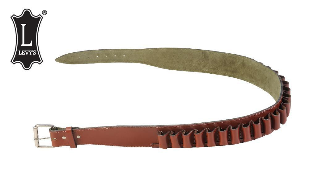 Levy's Leathers Shell Belt - 12 Gauge, Various Sizes, Walnut with Suede Backing #EX47-12-WAL