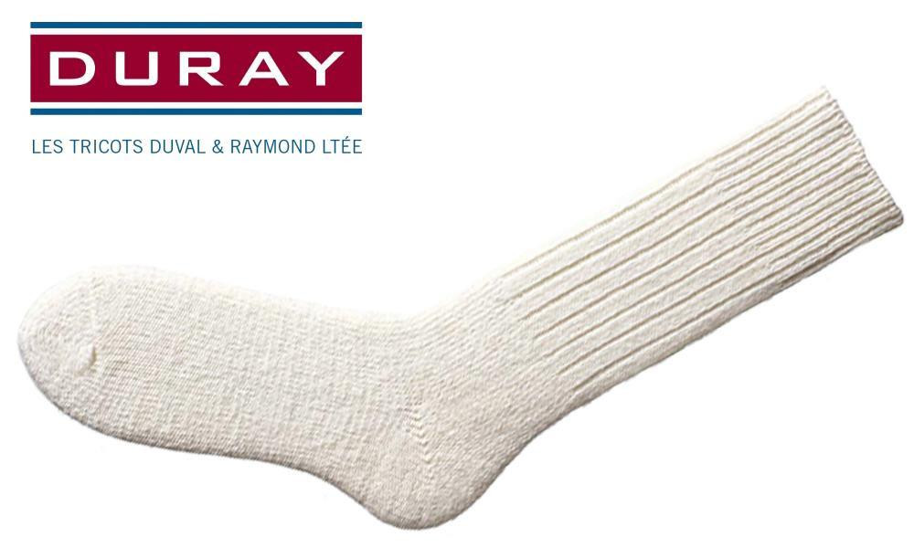 DURAY ULTIMATE THERMAL WOOL WORK SOCK, NATURAL WHITE, SIZE LARGE #1160