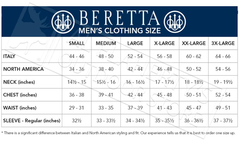 Beretta Clothing Size Chart