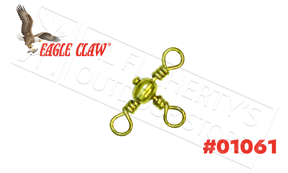 Eagle Claw Crossline Swivels Brass Finish, Sizes 4 6 and 8 #01061