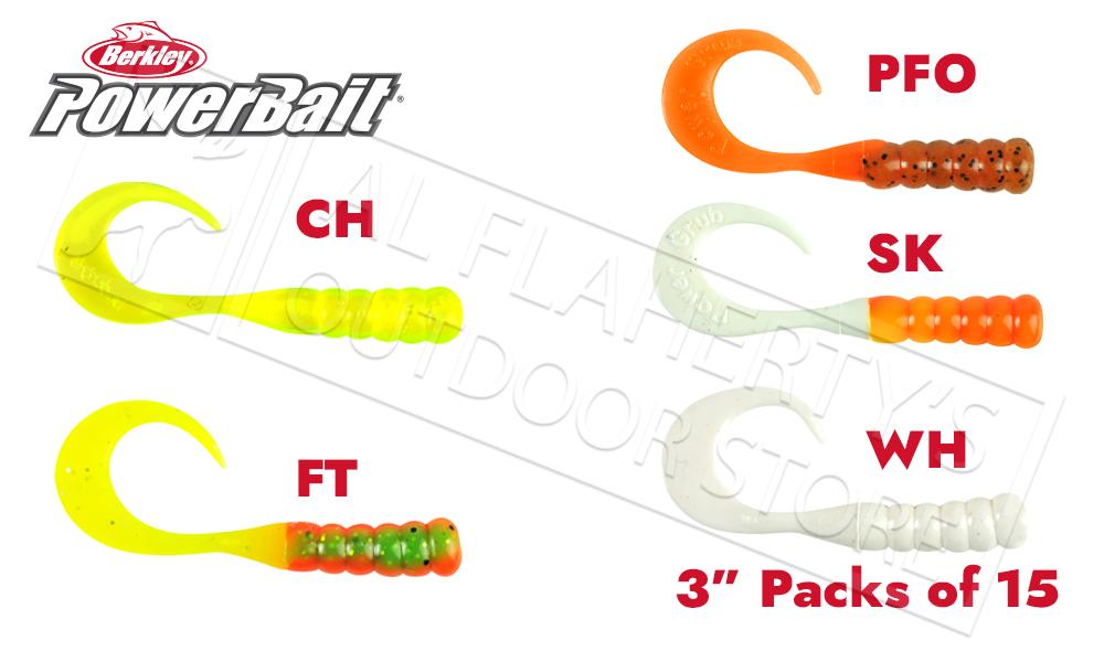 "Berkley PowerBait Ribbontail Grubs, Various Patterns, 3"" Pack of 15 #PBHRG3"