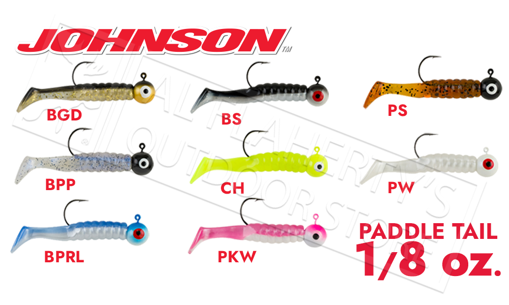 """Johnson Swimming Paddletail, 2-1/8"""" 1/8 oz. Various Patterns, Packs of 5 #SP2C1/8"""