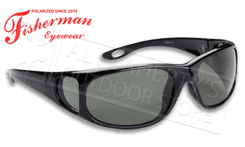 Fisherman Eyewear Grander Polarized Glasses for Fishing, Black and Grey Lens #90622