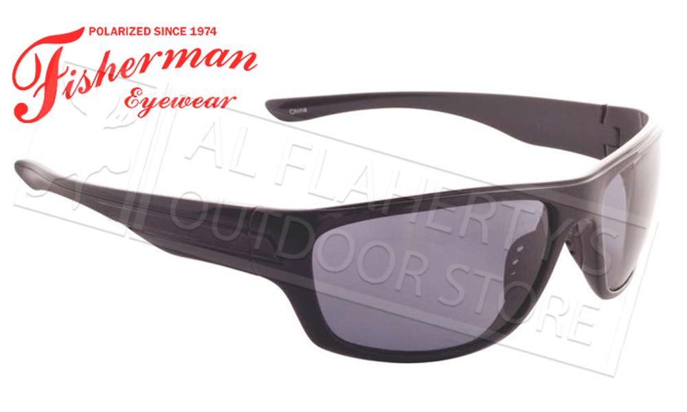 Fisherman Eyewear Striper Polarized Glasses, Shiny Black Frame with Grey Lens #96100354
