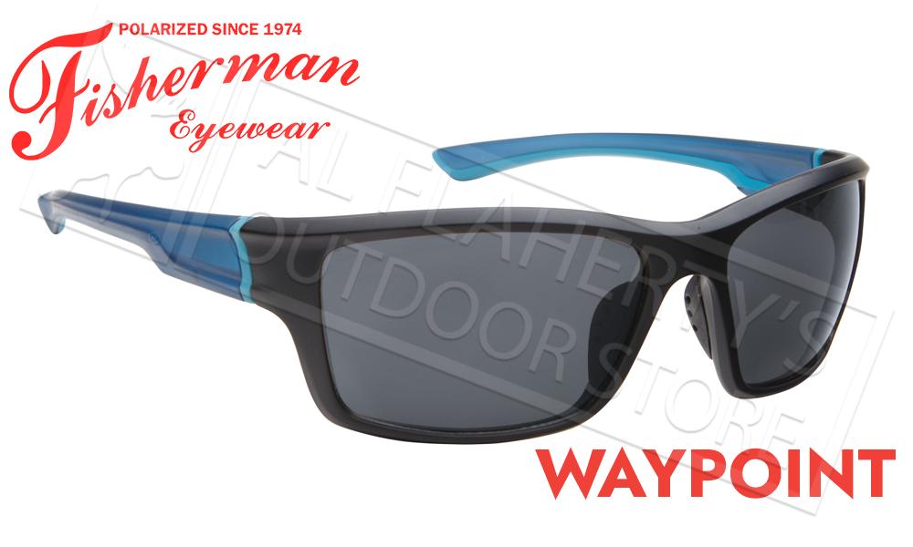 Fisherman Eyewear Waypoint Polarized Sunglasses, Matte Black and Blue Frame with Gray Lens #50663001