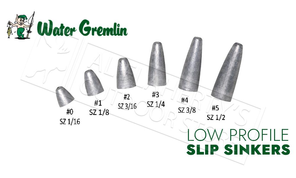 Water Gremlin Low Profile Slip Sinkers, Zip Lip Packs, Sizes 0 to 5 #PSL