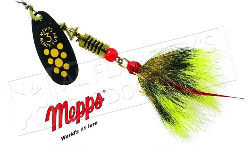 Mepps Black Fury Spinners, Inline, Dressed Treble Hook, Size 4, 1/3 oz. #BF4D