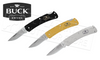 BUCK KNIVES ALUMNI FOLDING KNIVES, BLACK GOLD OR GREY #524X-B