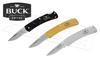 BUCK KNIVES ALUMNI FOLDING KNIVES, BLACK GOLD OR GREY #524X-B