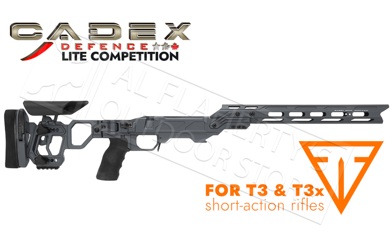 Cadex Defence Lite Compeition Chassis for Tikka T3/x RH Short Action  Rifles, Accu-Mag System in Gray #STKLCP-TIK-RH-SA-GRY