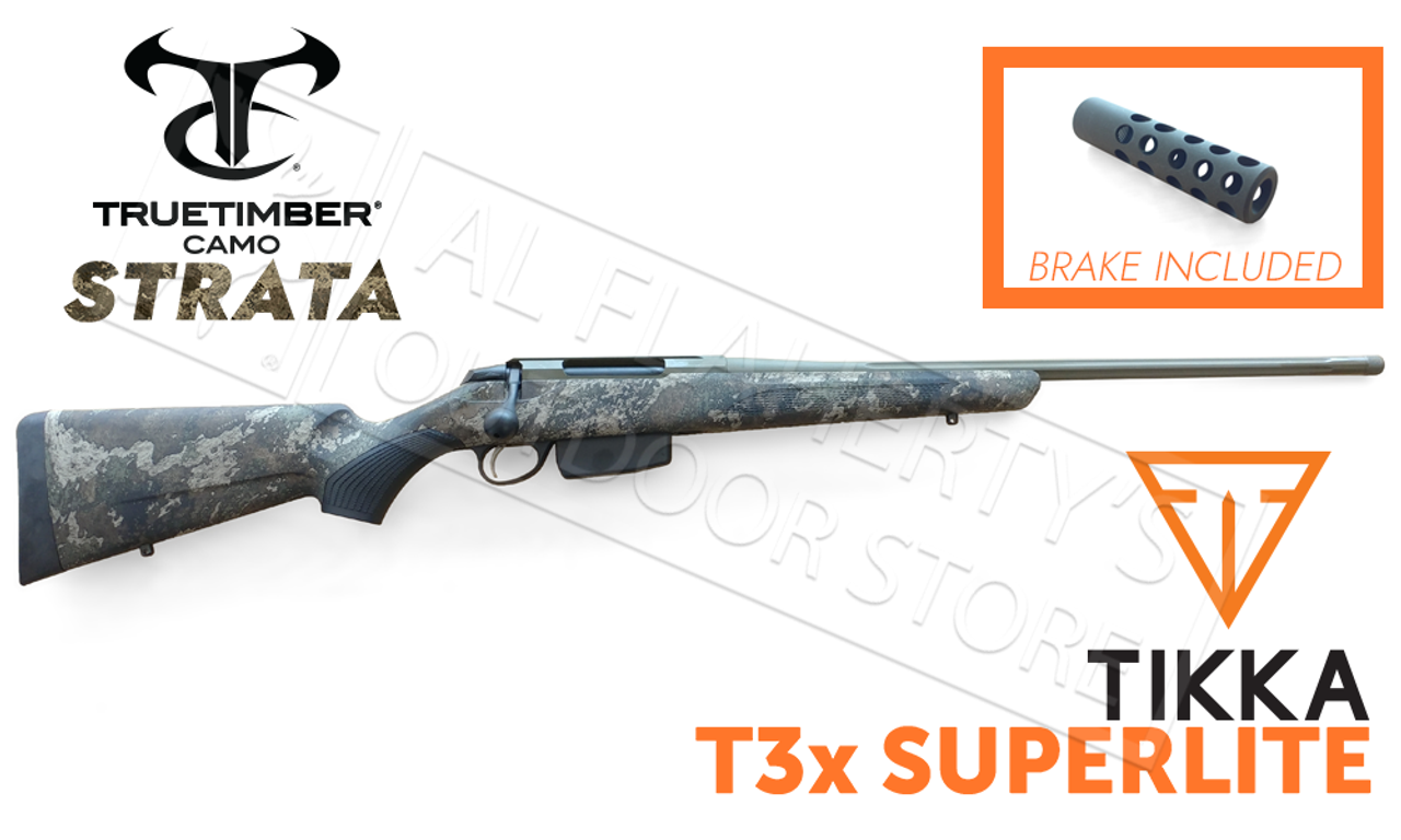 Tikka T3x SuperLite Strata Camo with OD Green Cerakote and Fluted Barrel  with Brake - Various Calibers #T00004