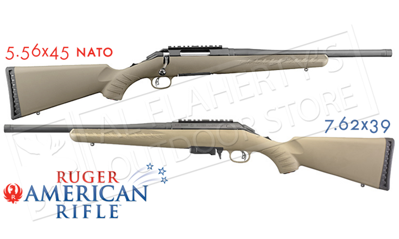 Ruger American Ranch Rifle FDE in 5 56x45 or 7 62x39 with Threaded Barrel