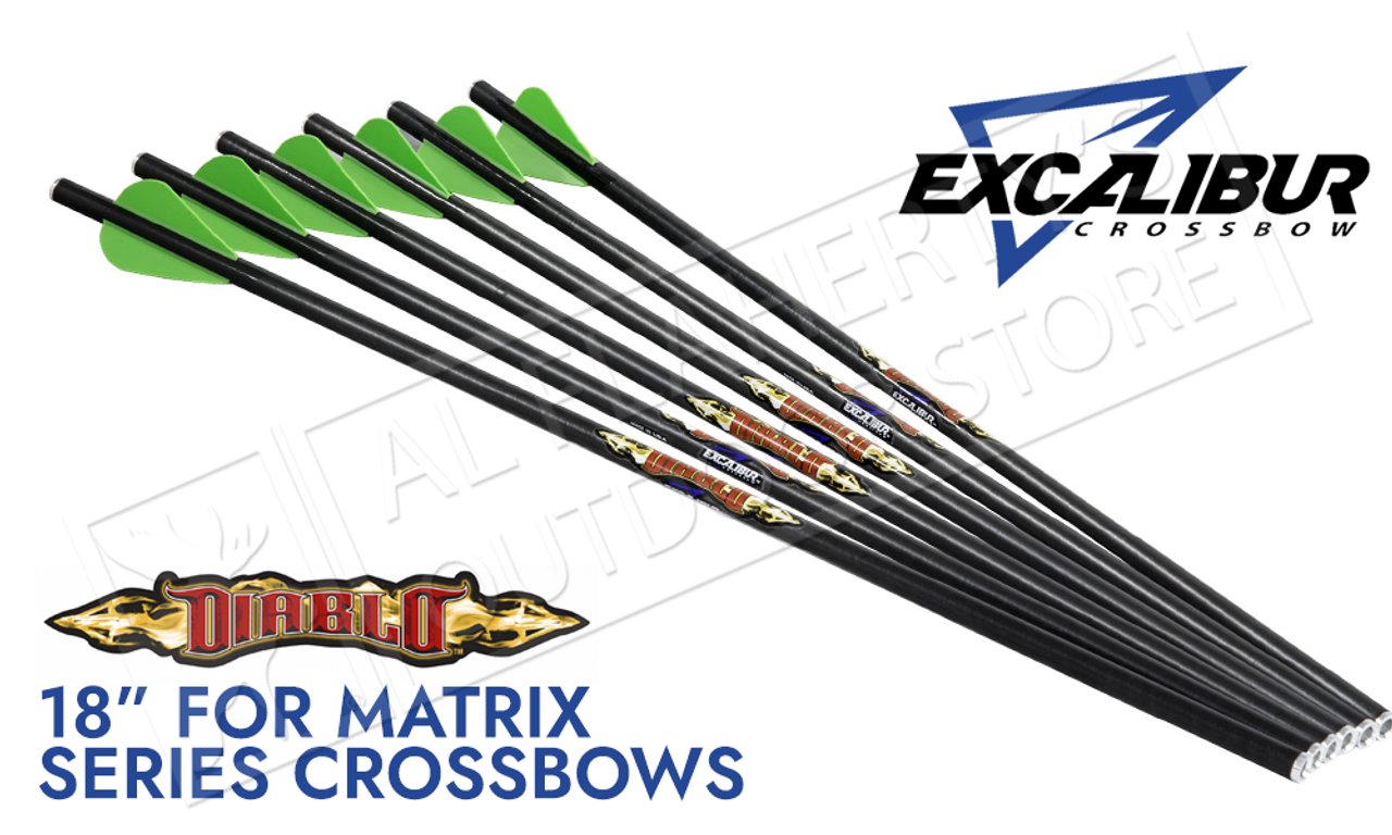 """Excalibur Diablo 18/"""" Carbon Arrows Crossbow Bolts 6 Pack"""