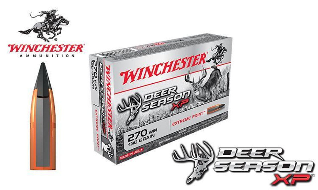 Winchester 270 WIN Deer Season XP, Polymer Tipped 130 Grain Box of 20  #X270DS