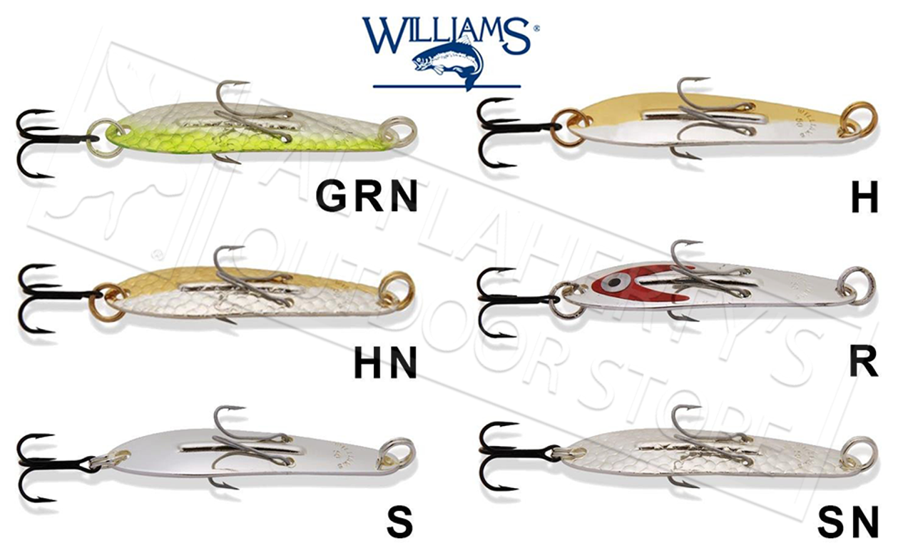 J50H 2-1//4 Long 1//4 oz Silver /& Gold Mirror Ice Jig Williams Lures