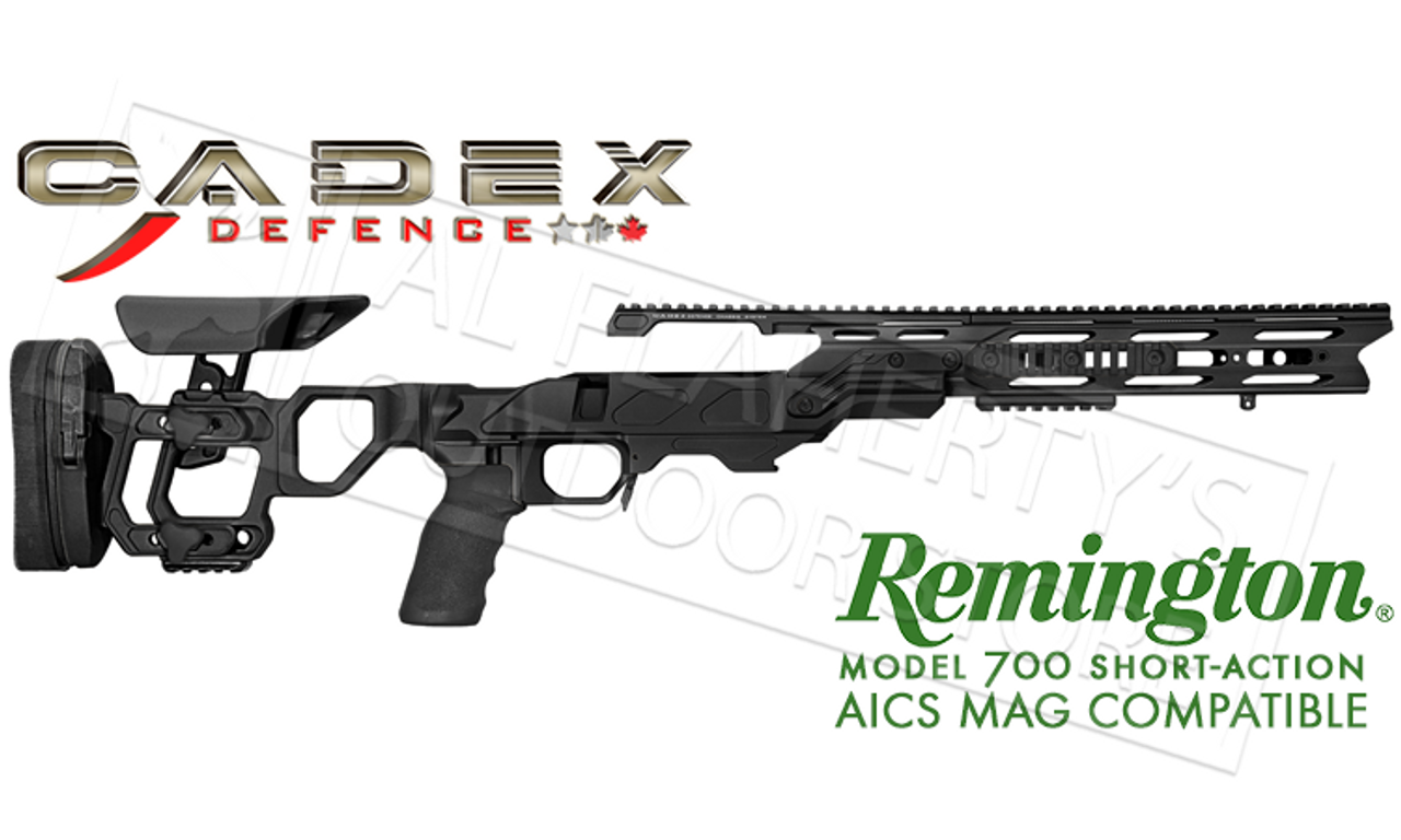 Cadex Defence Field Tactical Chassis for Remington 700 Short Action Using  AICS Magazines, 20 MOA Rail #STKFT-REM-RH-SA-B