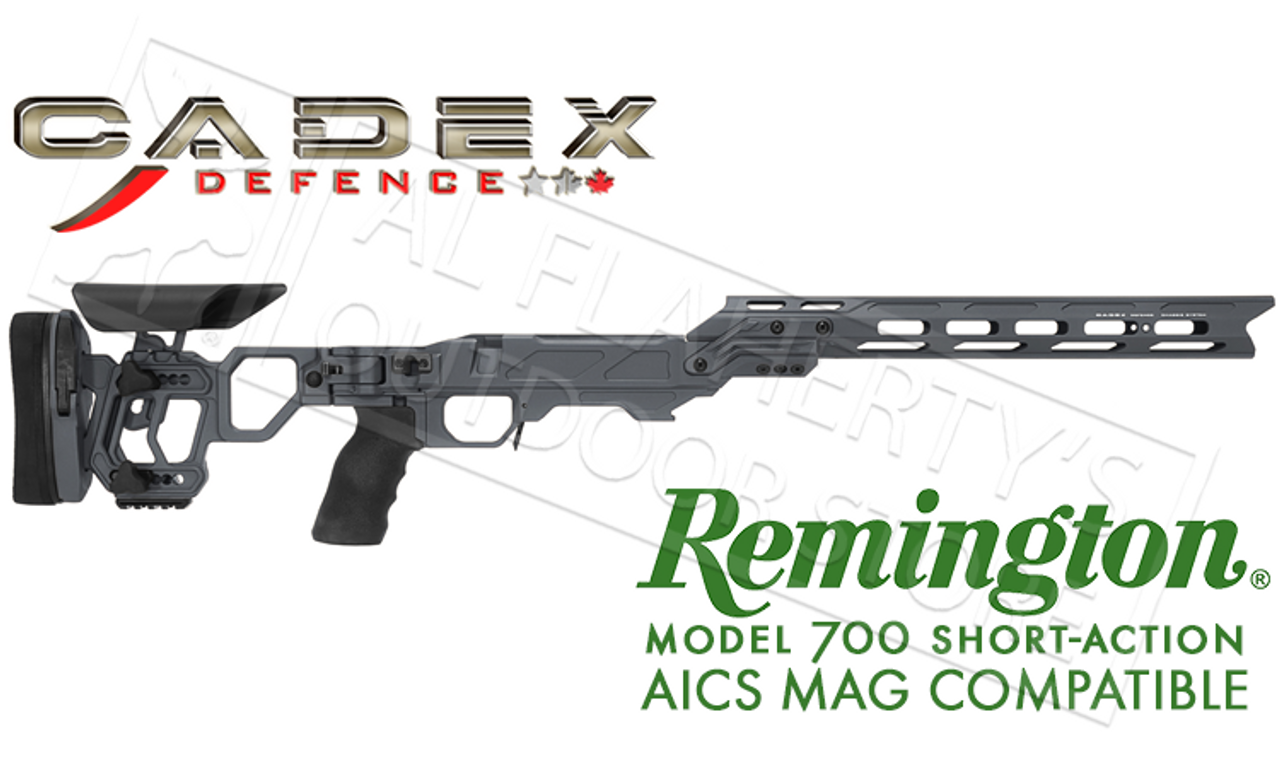 Cadex Defence Lite Competition Chassis for Remington 700 Short Action Using  AICS Magazines in Gray #STKLCP-REM-RH-SA-GRY