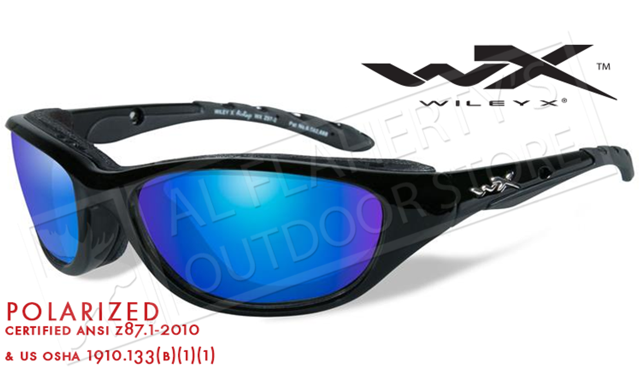 a37f1a83b4c Wiley X AirRage Shooting Glasses with Polarized Blue Mirror Lens and Gloss  Black Frame  698
