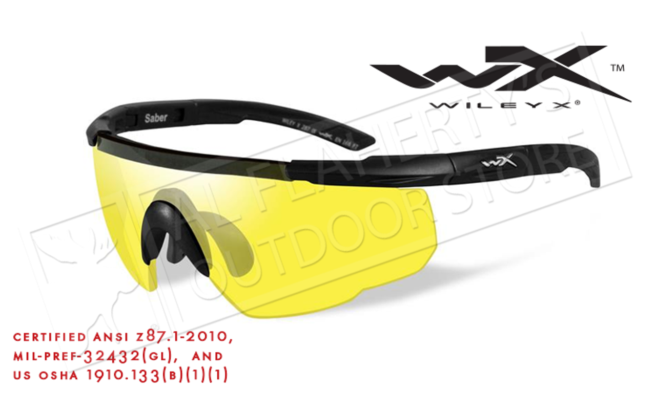 ee576e45df7e Wiley X Saber Advanced Shooting Glasses with Yellow Lens and Matte Black  Frame #300