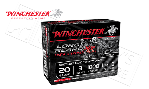 "Winchester Long Beard XL Turkey Shells 20 Gauge 3"" 1-1/4 oz., #5 Shot Box of 10 #STLB203"