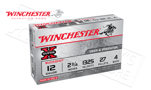 "Winchester Super-X Buckshot for Deer and Predator 12 Gauge 2-3/4"", 4-Buck 27 Pellet Box of 5 #XB124"