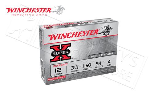 "Winchester Super-X Buckshot for Deer and Predator 12 Gauge 3-1/2"", 4-Buck 54 Pellet Box of 5 #XB12L4"
