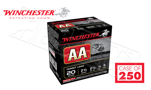 """(Store Pick Up Only) Winchester AA 20 Gauge #9, 2-3/4"""" Case of 250 Shells #AA209CASE"""