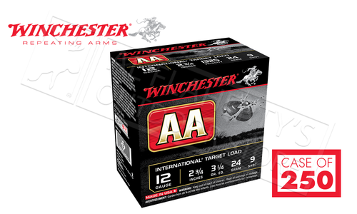 "(Store Pick Up Only) Winchester AA International Target Load 12 Gauge #8, 2-3/4"" Case of 250 Shells #AANL129CASE"