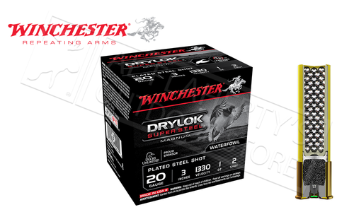 "Winchester Drylok Super Steel Magnum Waterfowl Shells 20 Gauge 3"" #2 Shot Size Box of 25 #XSM2032"