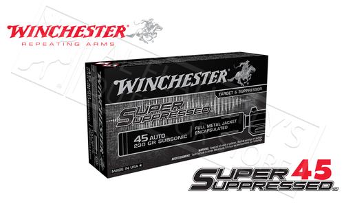 Winchester 45ACP Super Suppressed, 230 Grain FMJE Box of 50 #SUP45