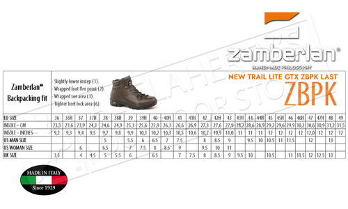 Zamberlan 309 New Trail Lite GTX Hiking Boots with ZBPK Last, Sizes 8-13 #0309PM9G-0C