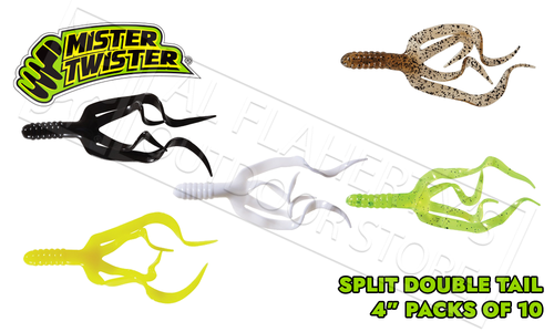 "Mister Twister Split Double Tail 4"" - Packs of 10 Various Patterns #SDT10"