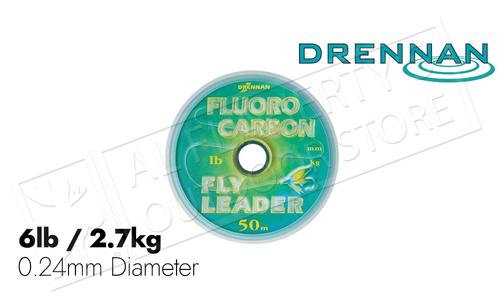 Drennan Fluorocarbon Fly Leader Spool, 6lb 50m #DRFC60