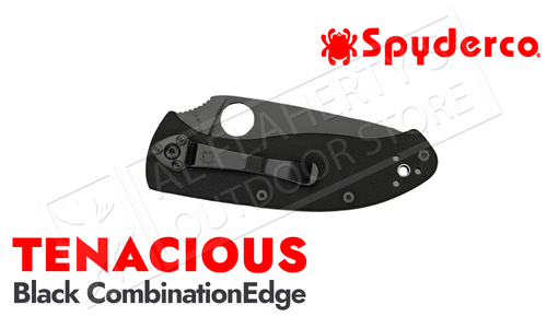 Spyderco Tenacious G-10 Folding Knife, Half Serrated Black Blade#C122GBBKPS