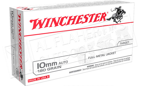 Winchester 10mm Auto 180 Gr FMJ Box of 50, #USA10MM