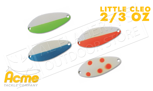 Acme Tackle Little Cleo Spoons - Glowing 2/3 Oz. Various Patterns #C-230