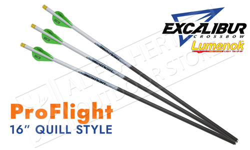 "Excalibur Proflight Arrows 16"" with LUMENOK - Quill Length, Pack of 3 #22EXP16IL-3"