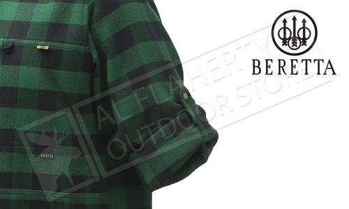 Beretta Overshirt with Zipper Pocket Green Check #LU63T1861072N