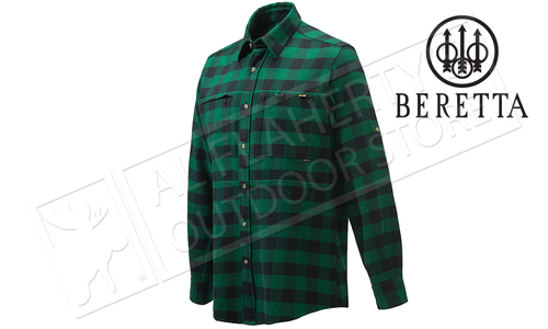 Beretta Overshirt with Zipper Pocket Green Check #LU63T1861072N