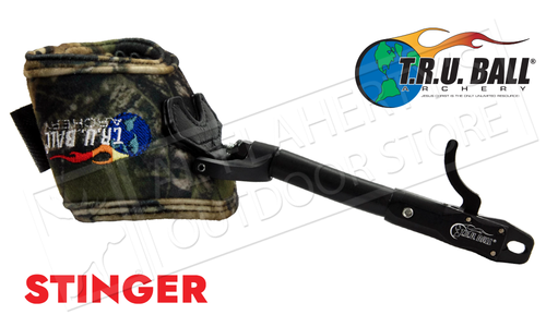T.R.U. Ball Archery Stinger Caliper Release, Rated to 100 lbs, Camo with Velcro Strap #TBTSTR