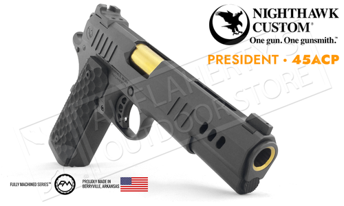 Nighthawk Custom 1911 President Black with Gold Highlight 45ACP